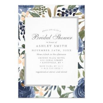 navy blue floral pattern watercolor bridal shower invitation