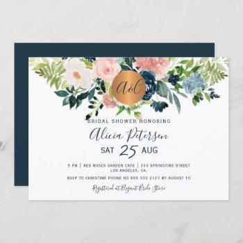 navy blue floral watercolor monogram bridal shower invitation