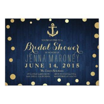 navy blue gold foil anchor nautical bridal shower invitation
