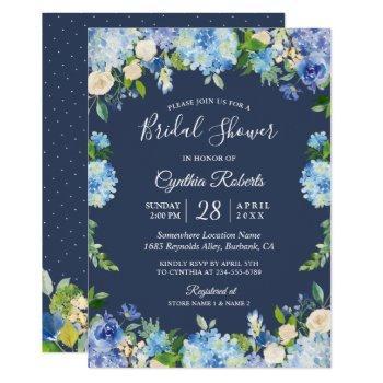 navy blue hydrangea floral gorgeous bridal shower invitation
