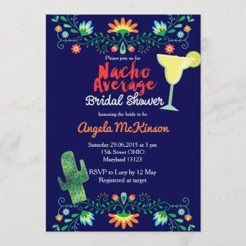 navy blue nacho average bridal shower invitation