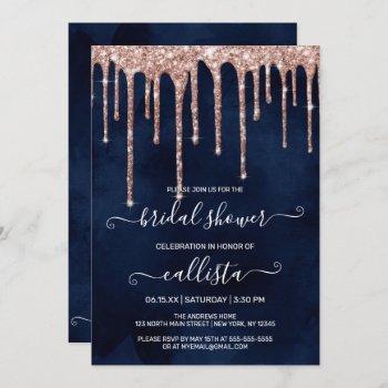 navy blue rose gold glitter drips bridal shower invitation