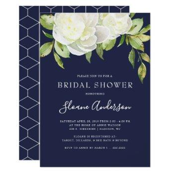 navy blue spring floral peony bridal shower invitation