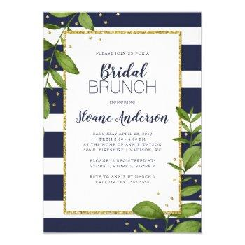 navy blue stripes botanical bling bridal brunch invitation