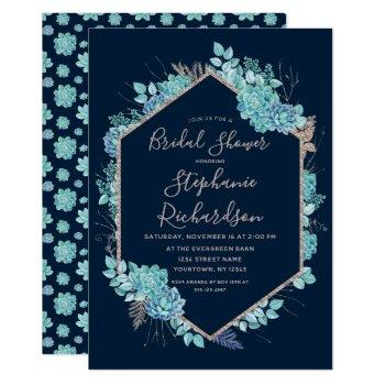 navy blue succulents bridal shower invitation