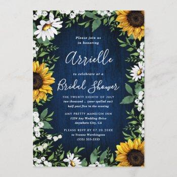 navy blue sunflower rustic country bridal shower invitation