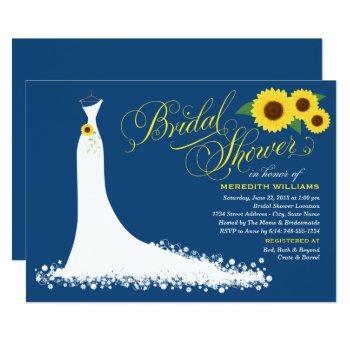 navy blue sunflower wedding gown bridal shower invitation