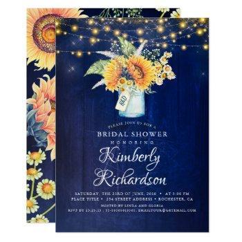 navy blue sunflowers rustic fall bridal shower invitation