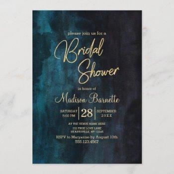 navy blue watercolor gold bridal shower invitation