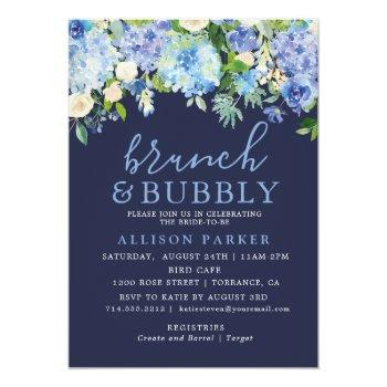 navy blue watercolor hydrangea brunch & bubbly invitation