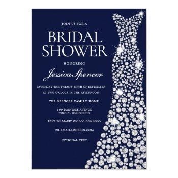 navy blue white wedding dress bridal shower invite
