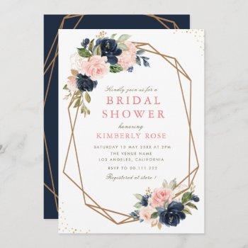 navy & blush floral geometric bridal shower invitation