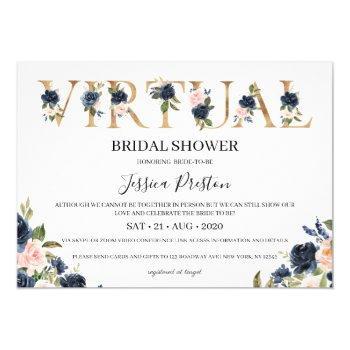 navy blush floral virtual bridal shower invitation