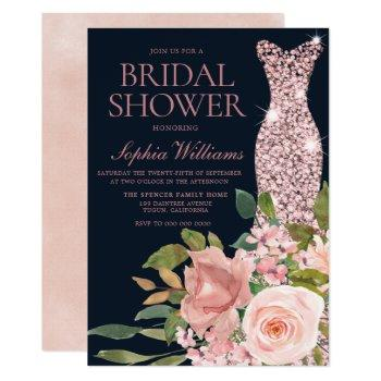 navy & blush rose gold dress floral bridal shower invitation
