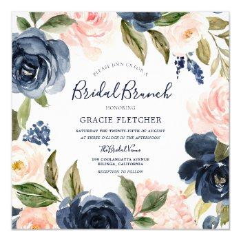 navy blush watercolor flowers bridal shower brunch invitation