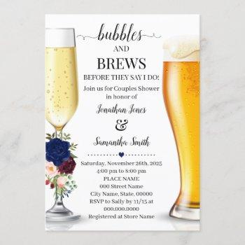 navy bubbles and brews before i do couples shower invitation