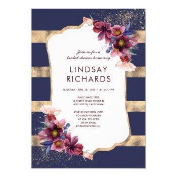 navy burgundy and gold floral bridal shower invitation