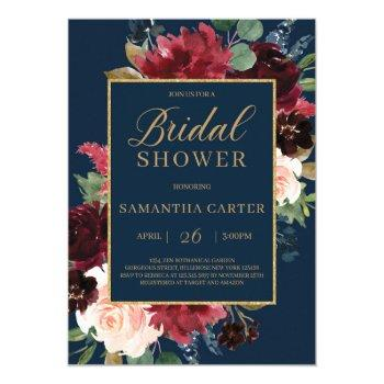 navy burgundy blush floral gold bridal shower invitation