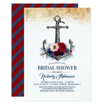 navy burgundy floral anchor nautical bridal shower invitation