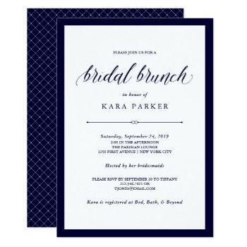navy couture | elegant bridal brunch invitation