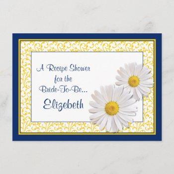 navy daisy recipe theme bridal shower invitation
