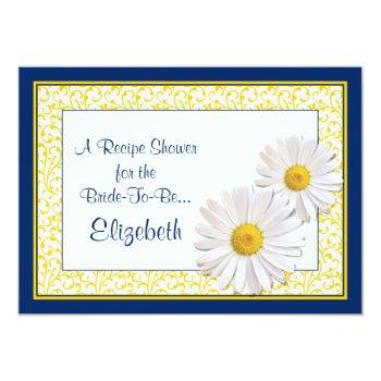 navy daisy recipe theme bridal shower invitation