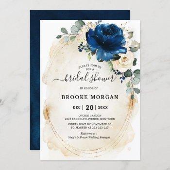 navy gold white champagne ivory rose bridal shower invitation