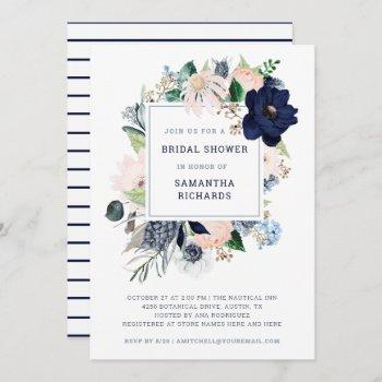 navy nautical floral and stripes | bridal shower invitation