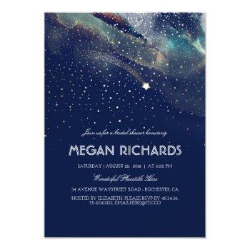 navy night gold shooting star bridal shower invitation