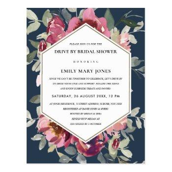 navy red blush rose floral drive by bridal shower postcard