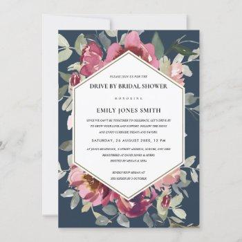 navy red rose floral drive by bridal shower invite
