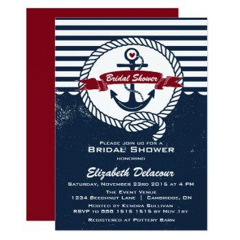 navy red rustic nautical bridal shower invitation