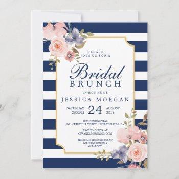 navy stripes bridal shower invitation