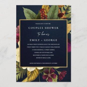 navy vintage retro burgundy floral couples shower invitation