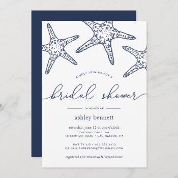 navy & white starfish bridal shower invitation