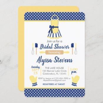 navy & yellow retro kitchen bridal shower invitation