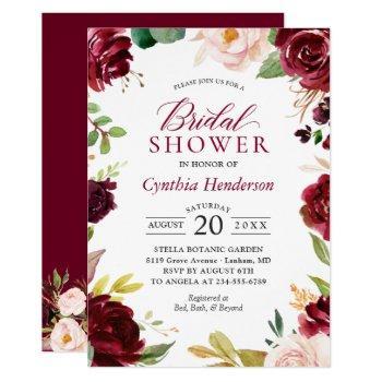 new! beautiful blush burgundy floral bridal shower invitation