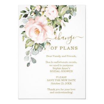 new plans pink flowers bridal shower postponed invitation