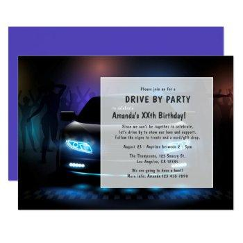 night time drive by birthday party invitation