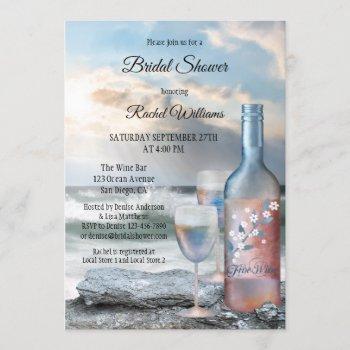 ocean and wine bridal shower invitation