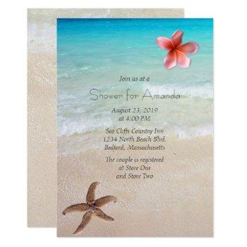 ocean beach bridal shower party invitation