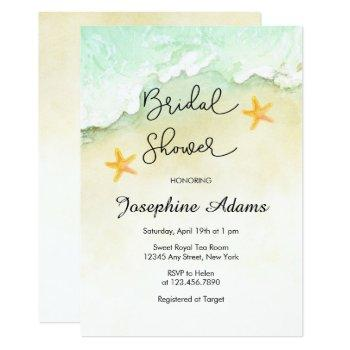 ocean beach tropical watercolor bridal  shower invitation