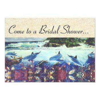 ocean dolphin sea turtle fish bridal shower invite