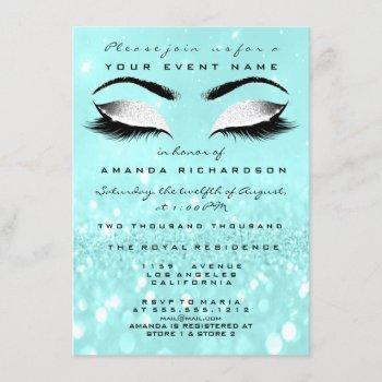 ocean makeup white glitter 16th bridal shower invitation