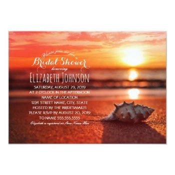 ocean seashell sunset beach themed bridal shower invitation