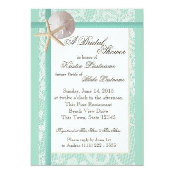 ocean theme sea foam green wedding shower invitation