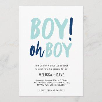 oh boy couples co-ed baby shower invitation