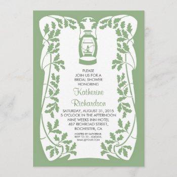 oil lantern and oak tree rustic bridal shower invitation