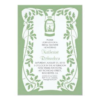 oil lantern and oak tree rustic bridal shower invitation