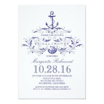 old anchor nautical bridal shower invite